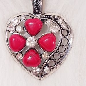 NWT Silver Heart Pendant w/ Red and Gemstone Beads